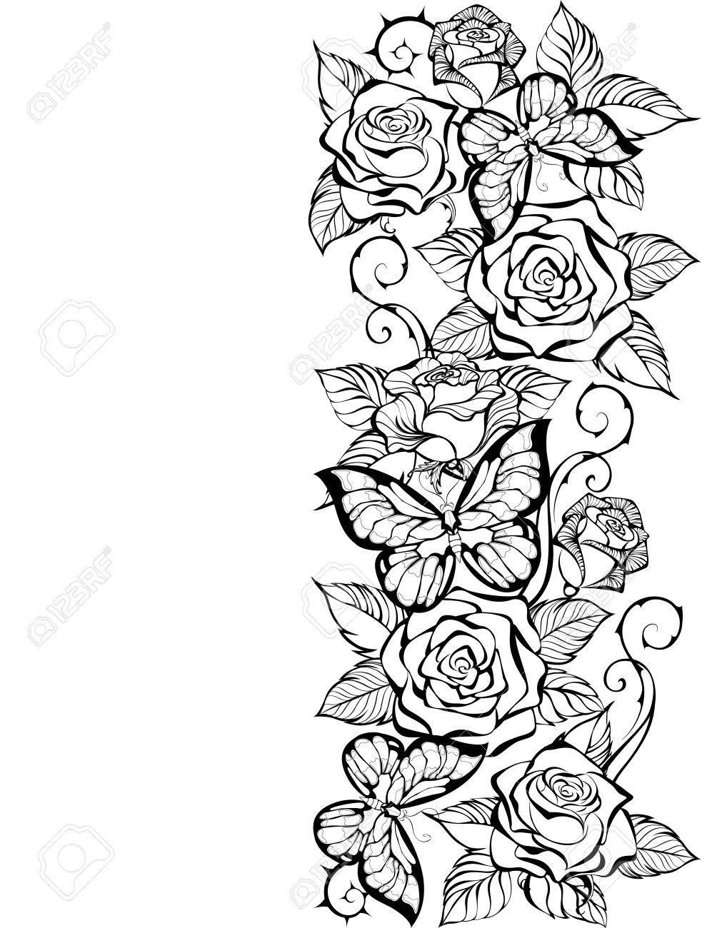 バラと白地に蝶の輪郭のボーダー塗り絵バラと蝶をデザインしますの