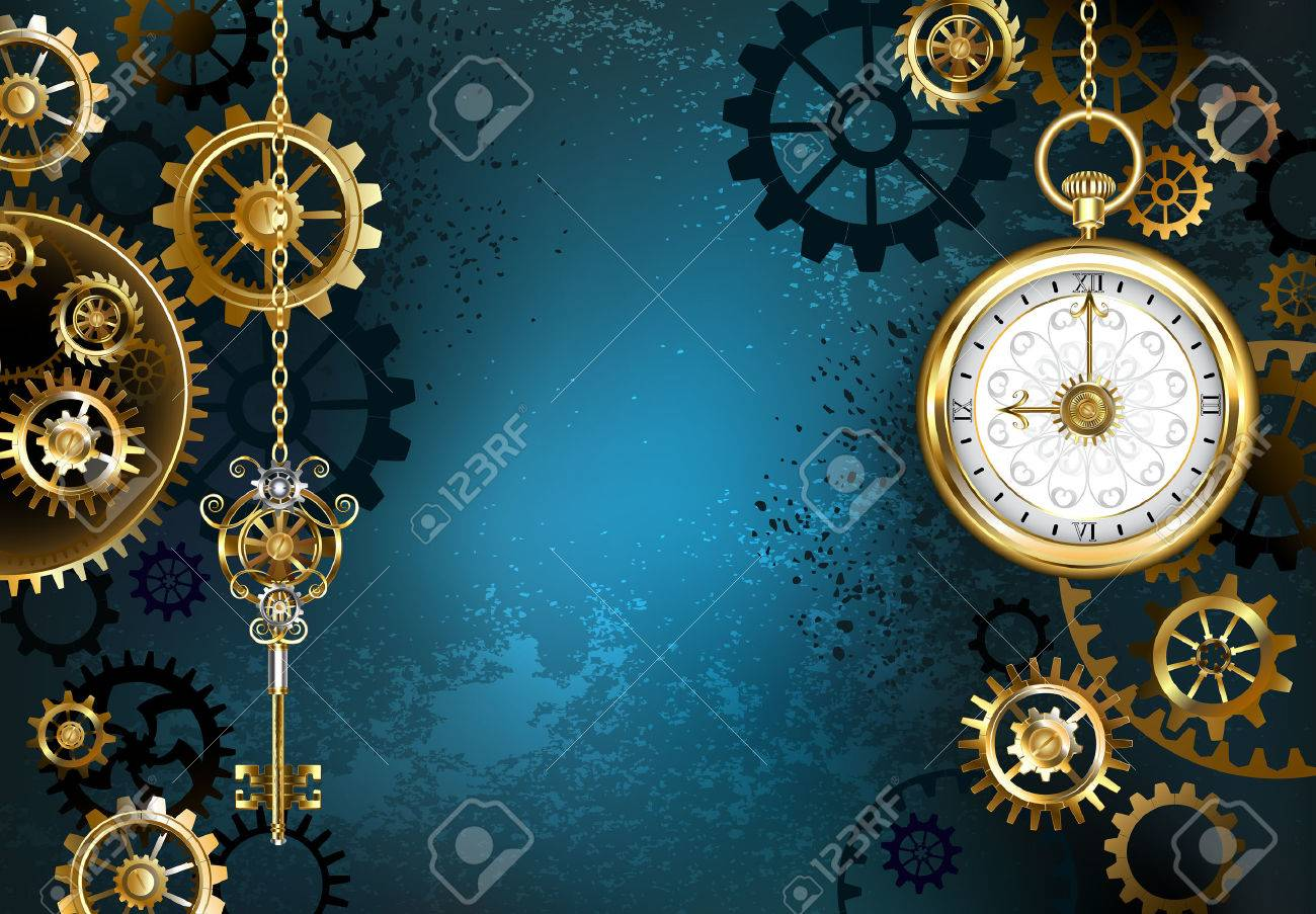 Turquoise, textured, steampunk background with brass and gold gears, a silver key and the clock. Steampunk style. - 68888926