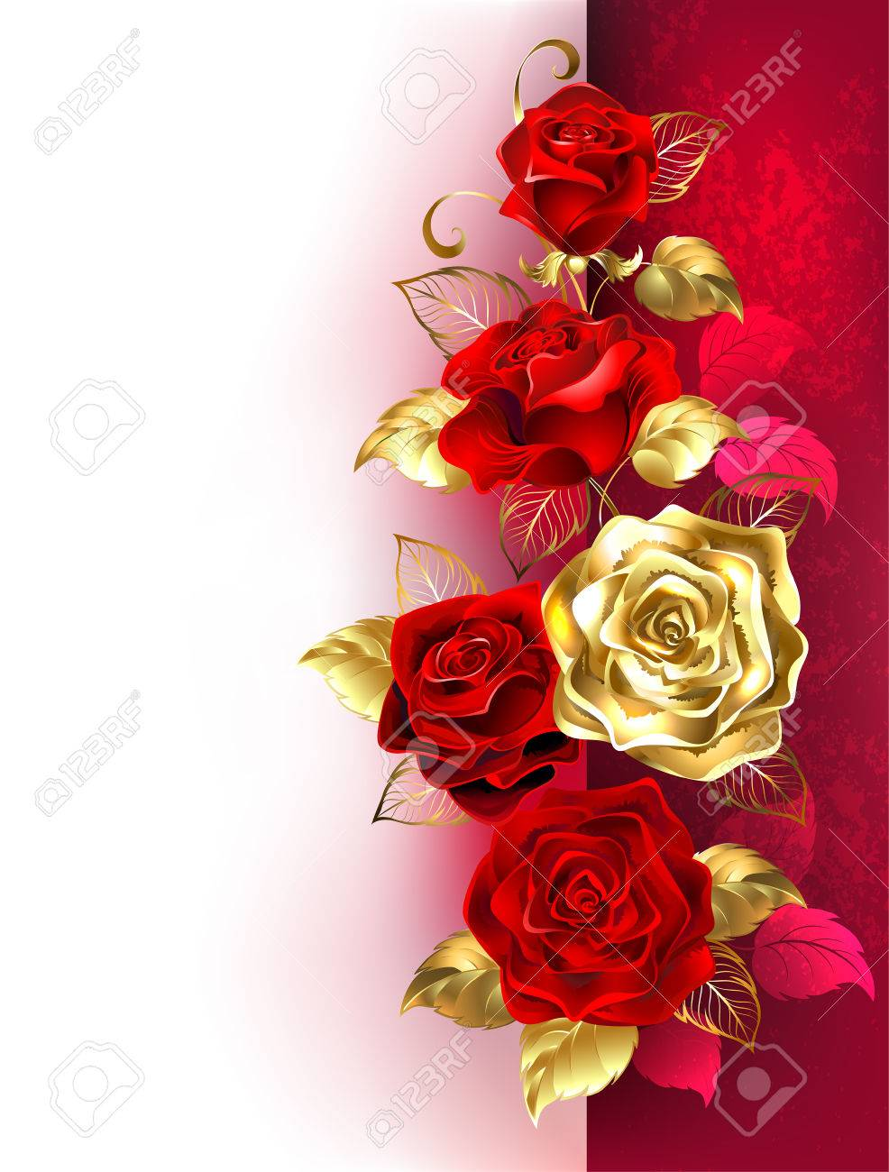 Design With Red And Gold Roses On A White And Red Background