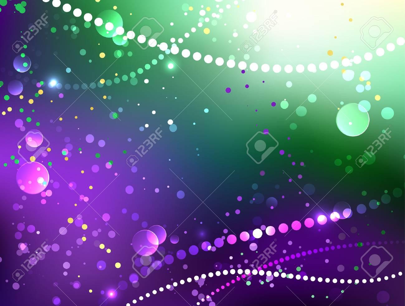 Bright purple and green background with shiny confetti  Festival