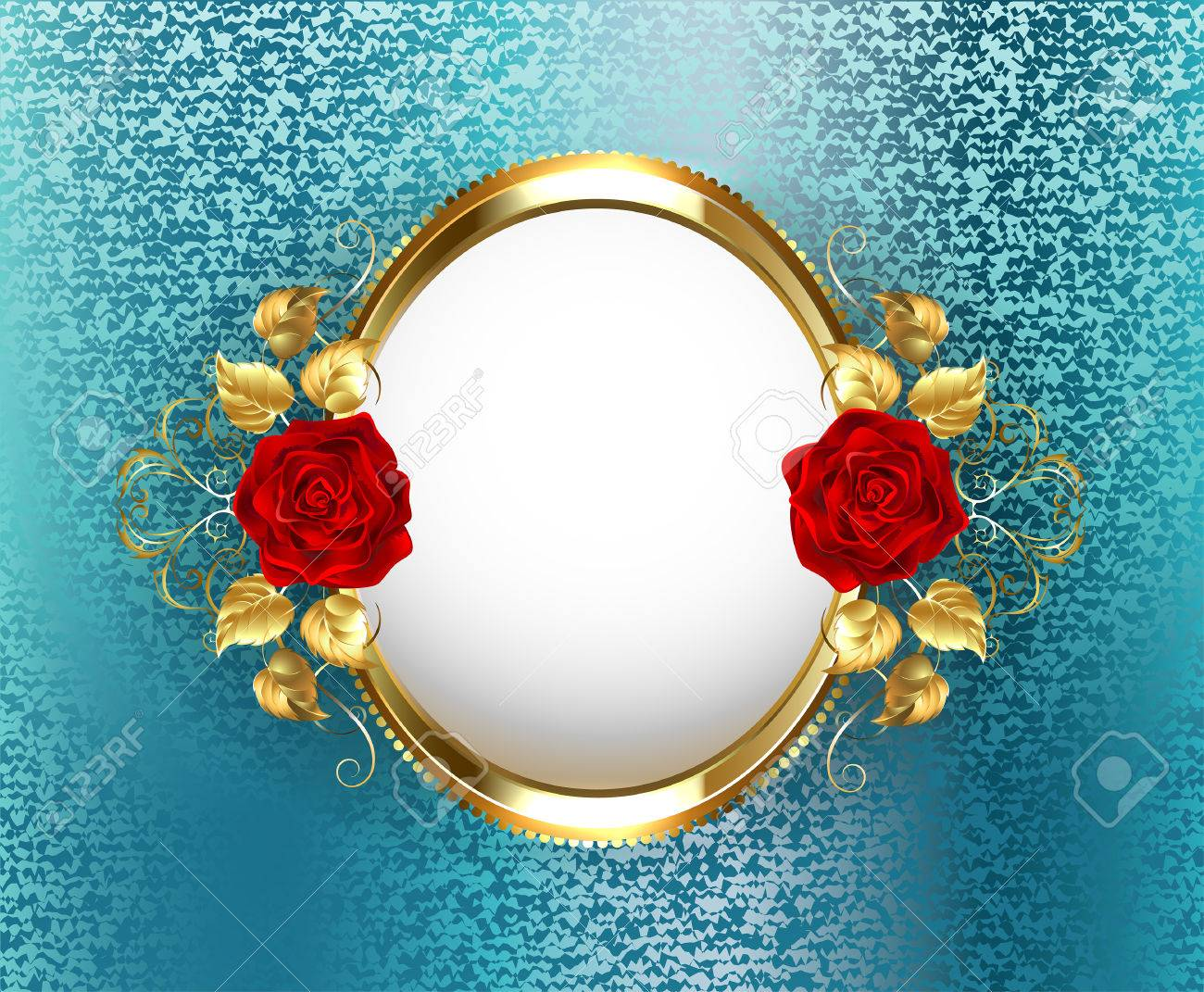 Marco Oval Del Oro Con Rosas Rojas Sobre Fondo Azul Turquesa