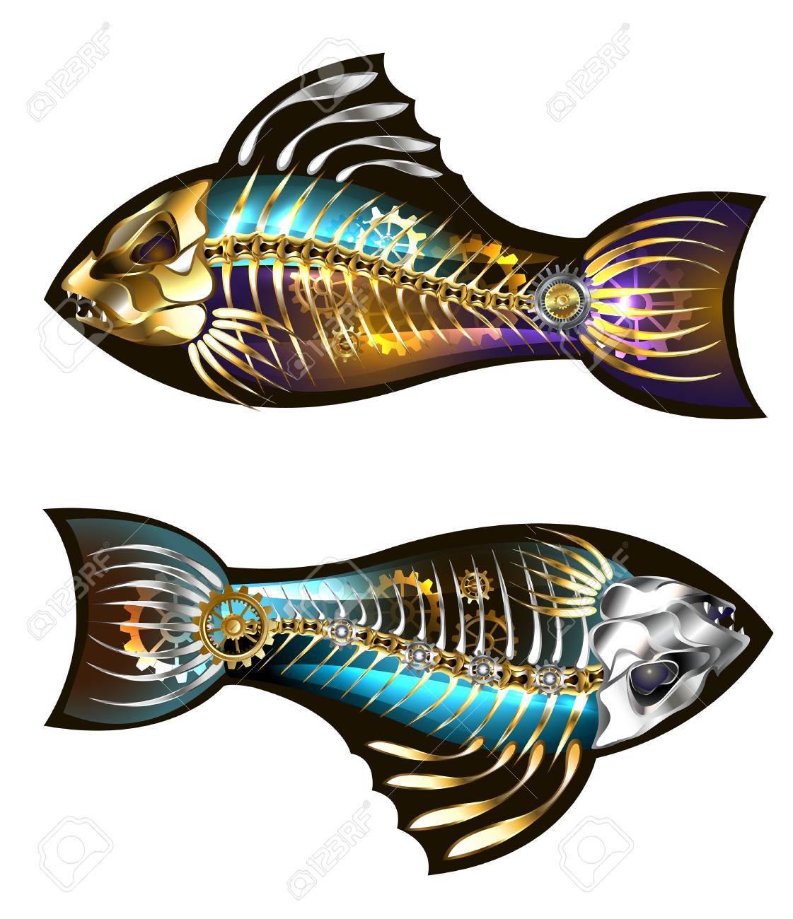 Dos Pescados Mecánicos Con Los Engranajes Del Esqueleto Y Del Oro En ...