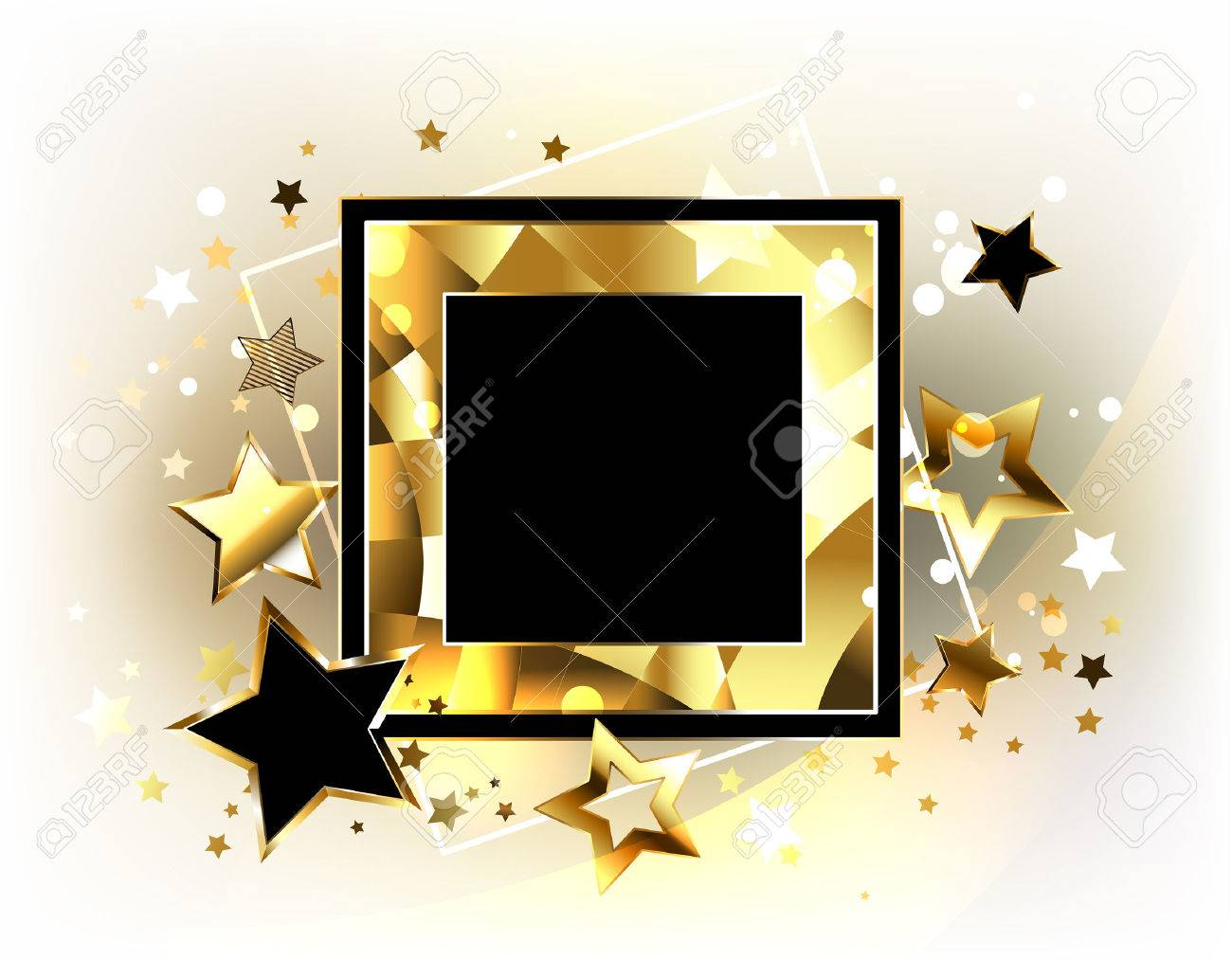 Square black banner with a gold polygonal frame decorated with square black banner with a gold polygonal frame decorated with flying gold and black jeuxipadfo Image collections