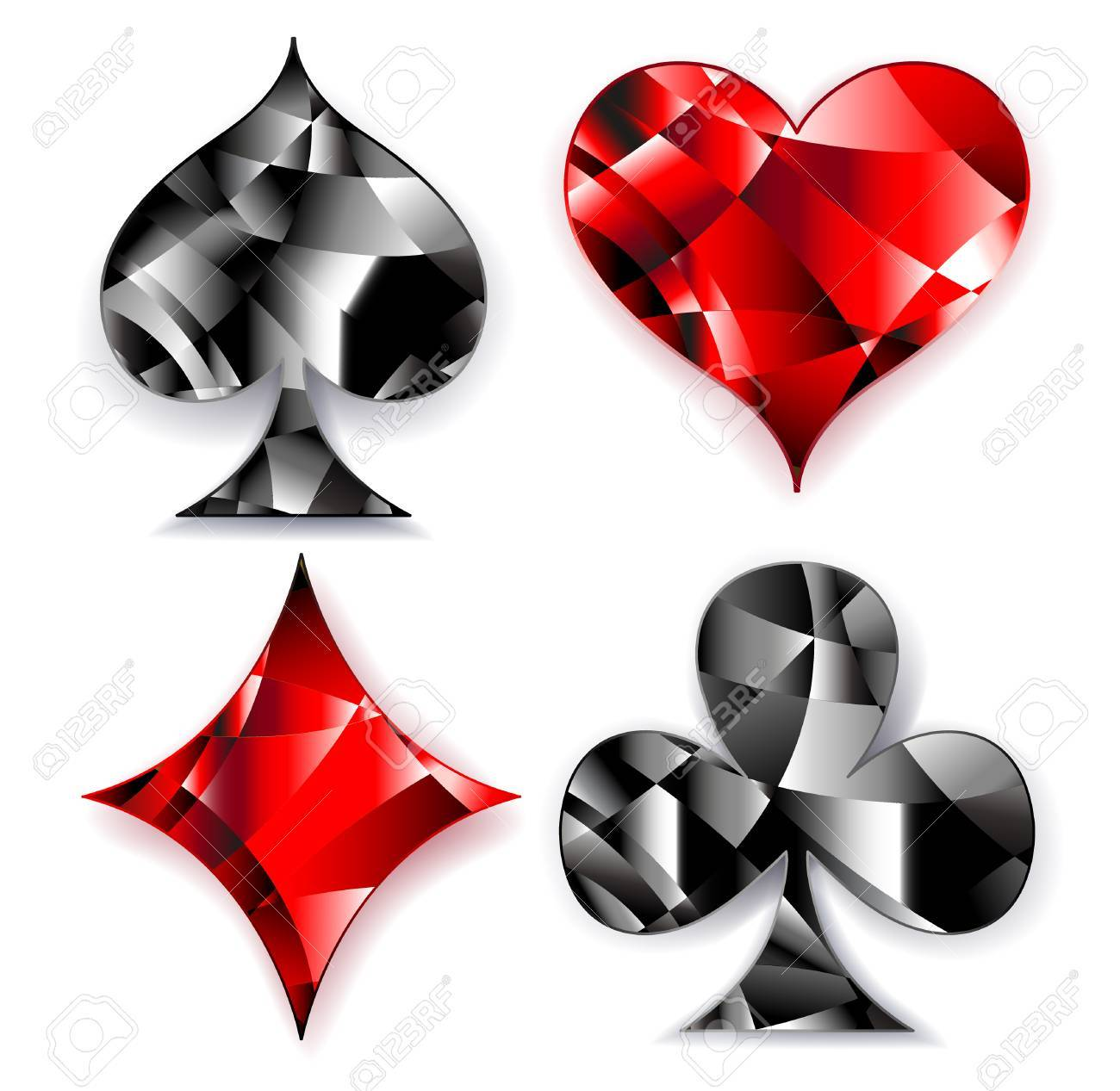 Set of polygonal shiny symbols of playing cards on a white set of polygonal shiny symbols of playing cards on a white background symbols biocorpaavc