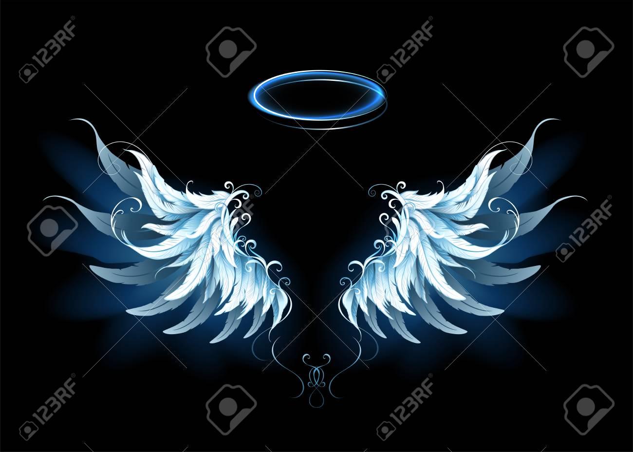 Light artistic blue angel wings. - 89098653