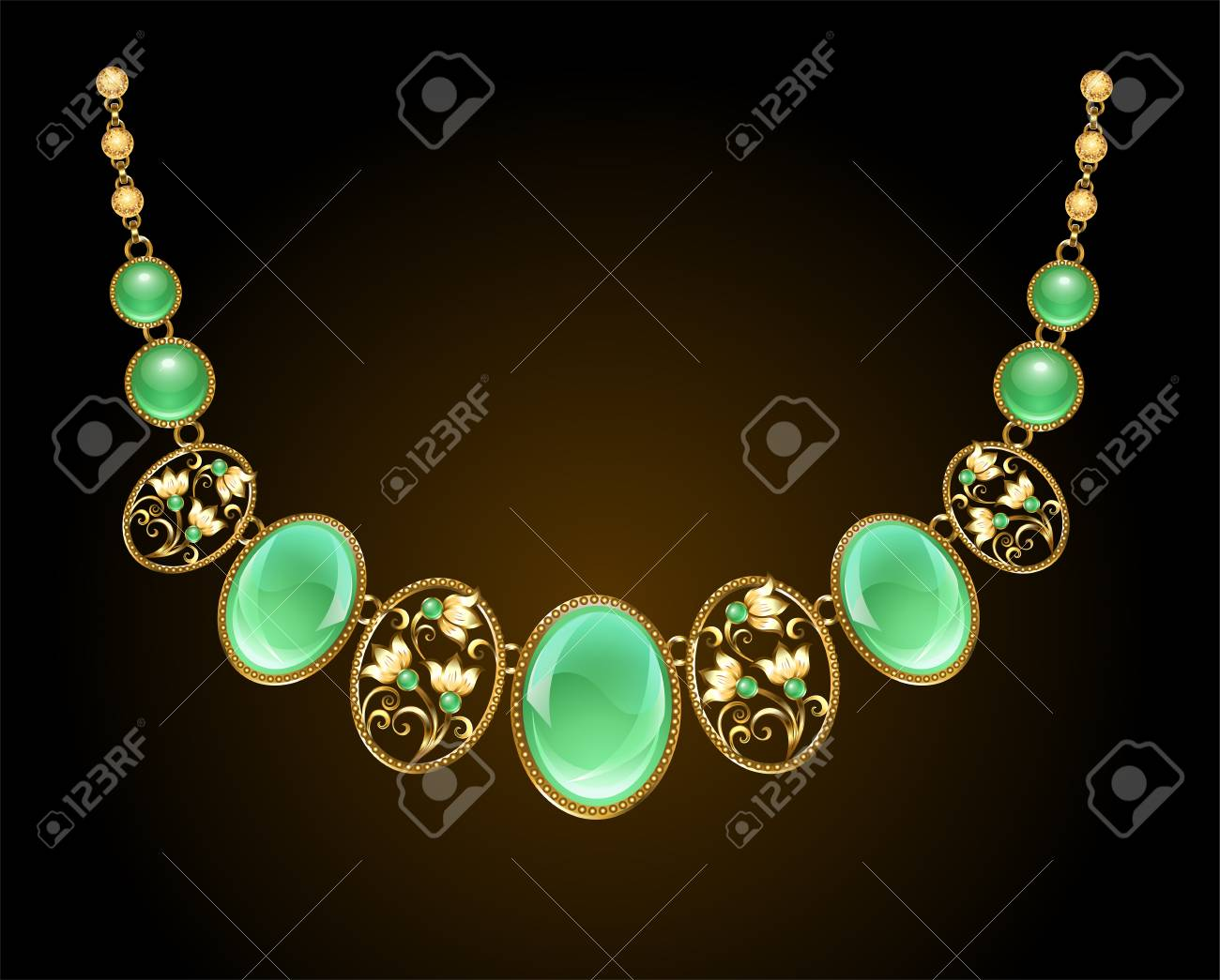 A Gold Necklace With An Oval Precious Chrysoprase Stone And A