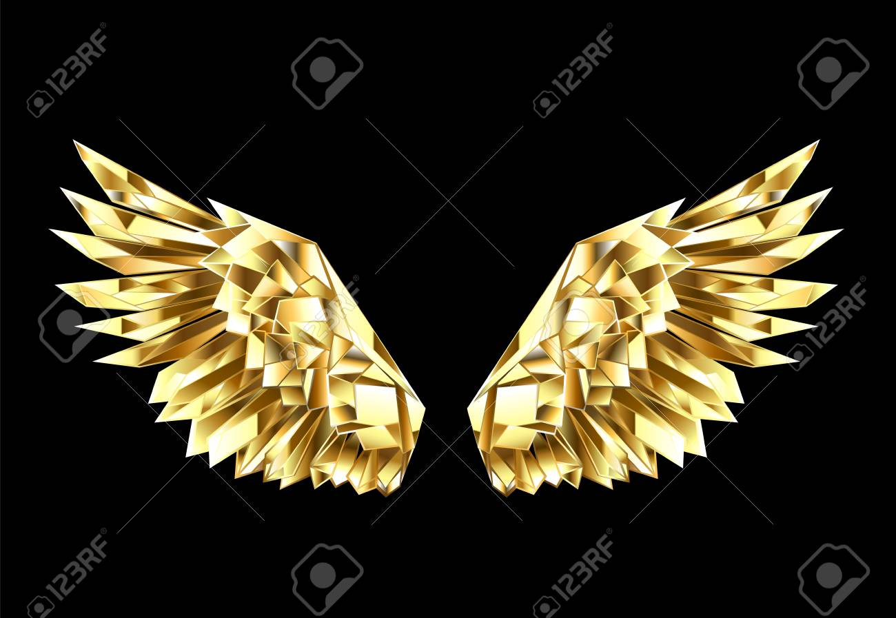Gold, faceted, polygonal wings on a black background. Golden wings. - 95297528