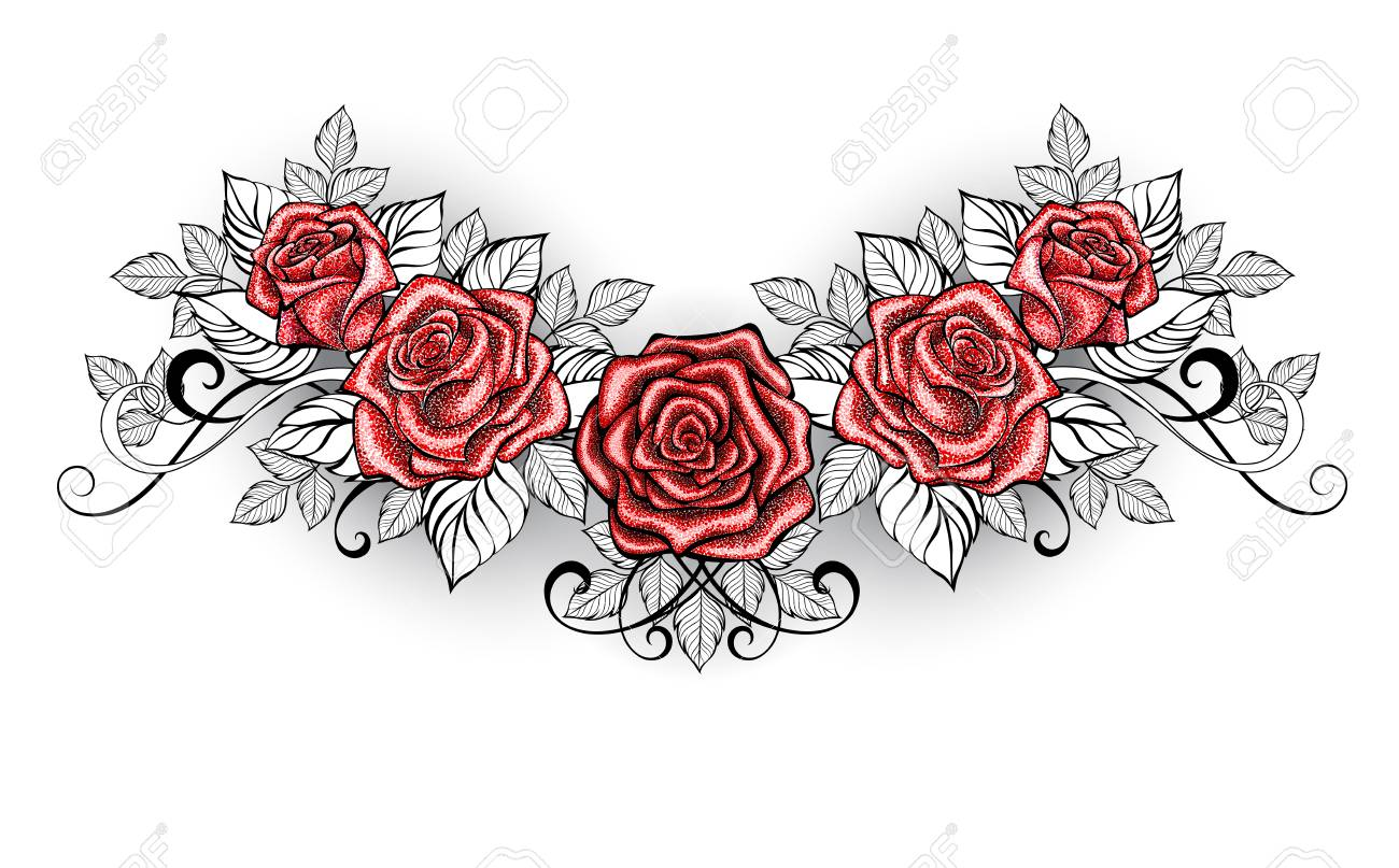 687198d3fe Meet Great Look Latest Black And White Red Rose Tattoo