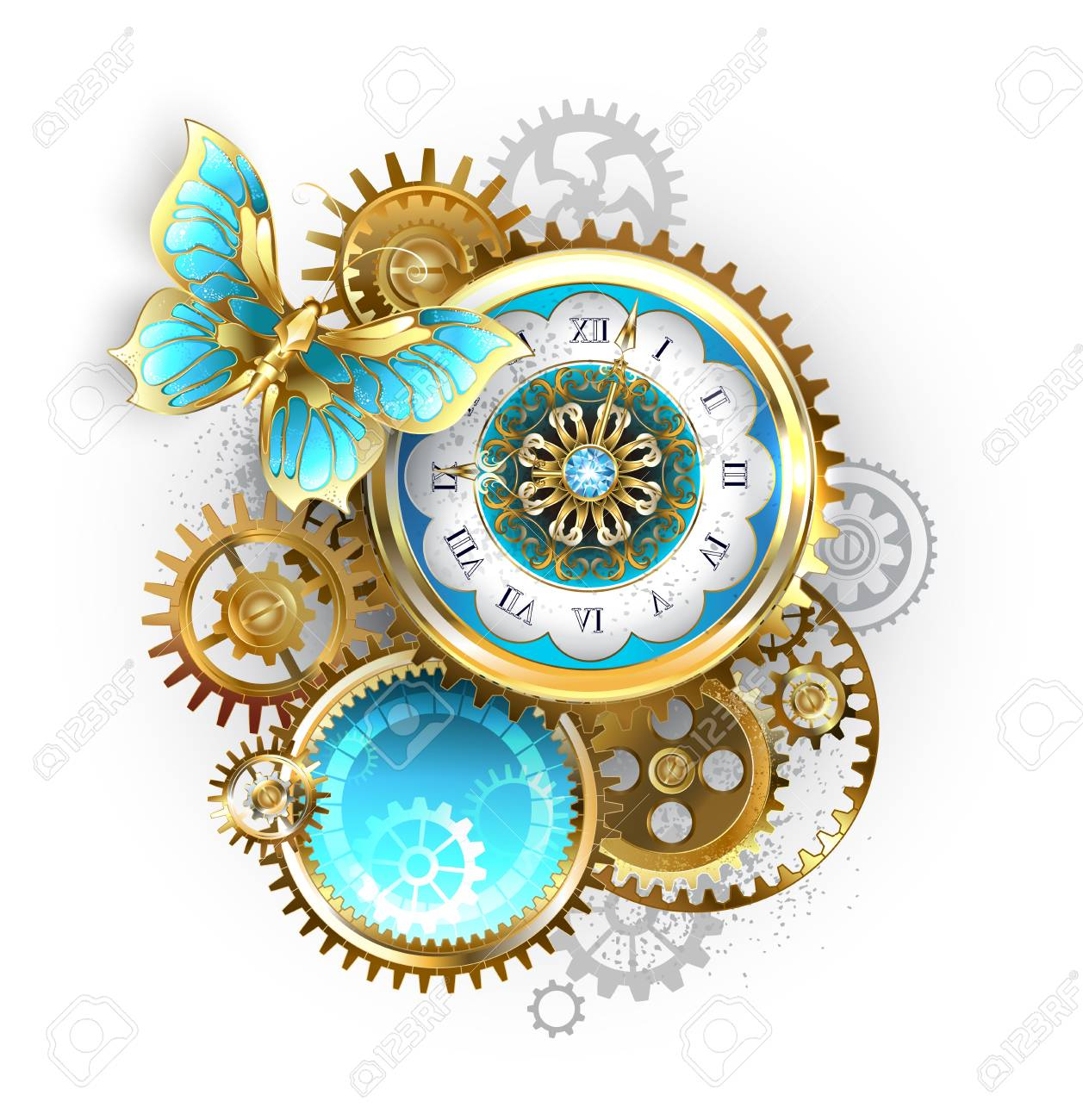 Antique clock, decorated with pattern, with gold butterfly and gold and brass gears on white background. Steampunk. - 109627882