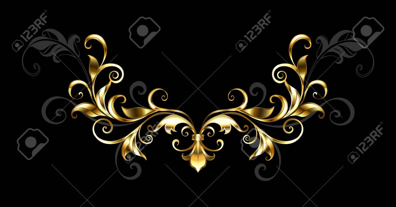 Antique, shiny, jewelry frame with gold and gray leaves on black background. - 121562907