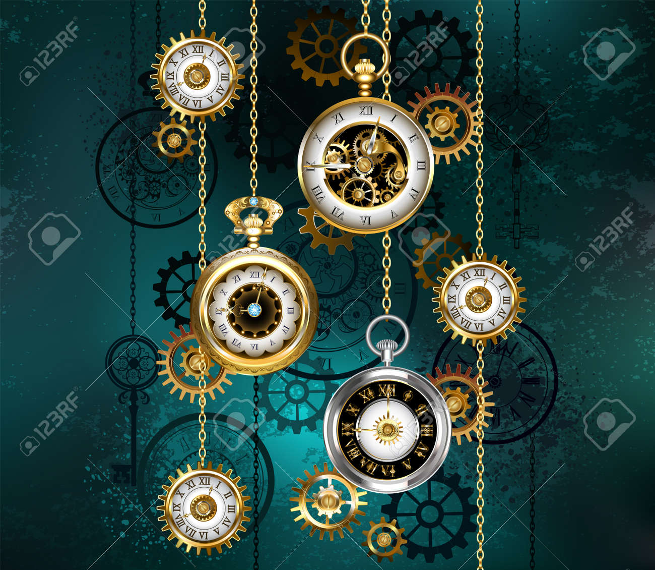 Jewelry, antique watches with gold chains, brass gears and silhouette dials on green textured background. Steampunk style. - 155774723