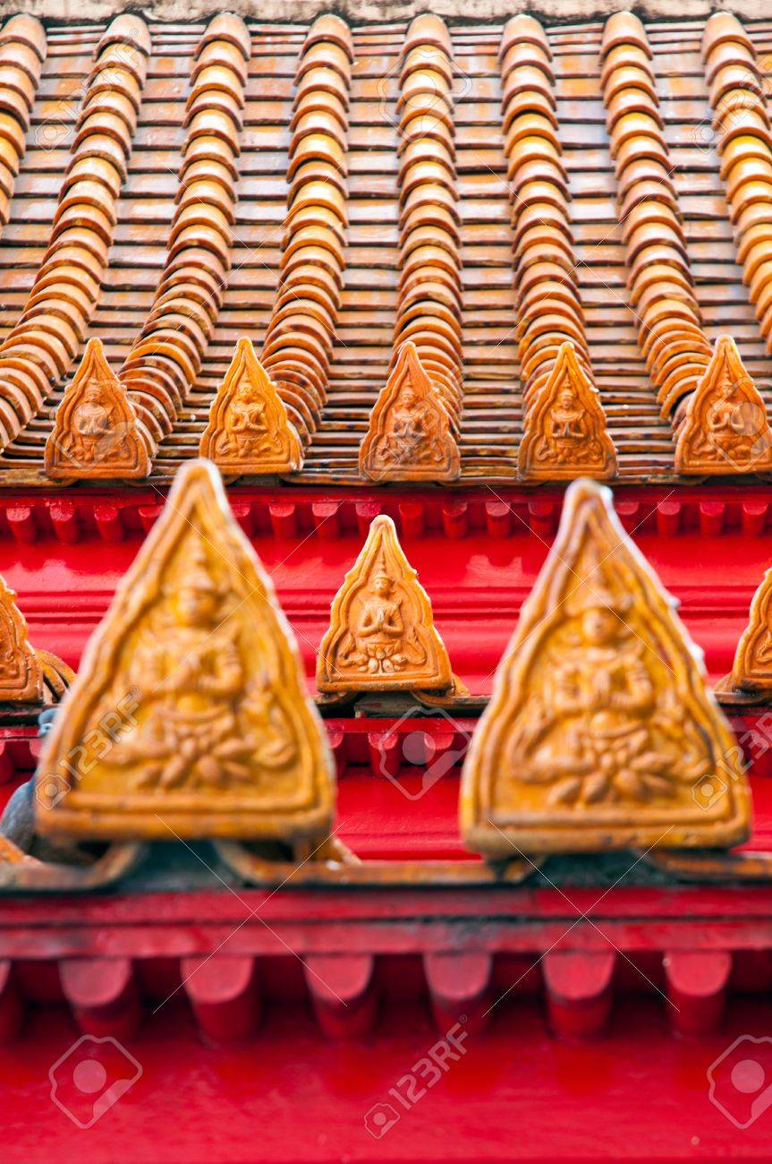Thai style buddhism temple Roof Tiles of Wat Benchamabophit is a temple compound of profound beauty and religious importance.Wat Benchamabophit is a royal monastery belonging to the first class ranking of Rajavaravihara. Few wats belong to this class in B Stock Photo - 13615343