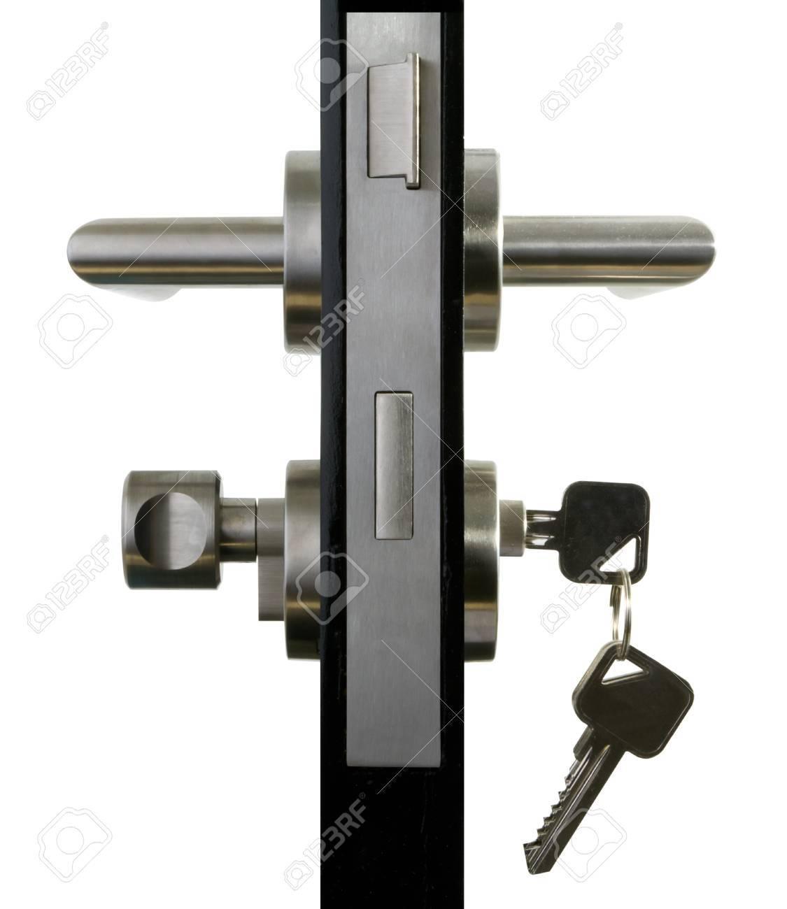 Poignee De Porte En Aluminium Sur Le Fond Blanc Porte Noire Banque D