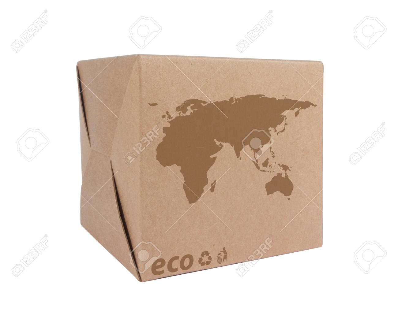 Cardboard box front side with Icon ecological map Euro Asia isolated on white background Stock Photo - 14411606