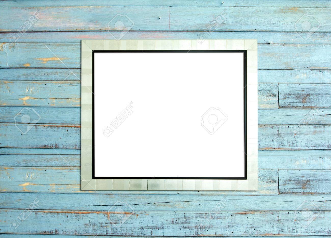 silber vintage bilderrahmen, holz vergoldet, blau holz hintergrund, Moderne