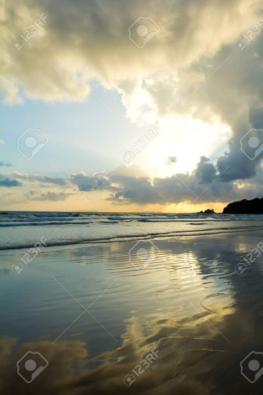 Tropical beach Sunset Sky With Lighted Clouds Stock Photo - 14795838