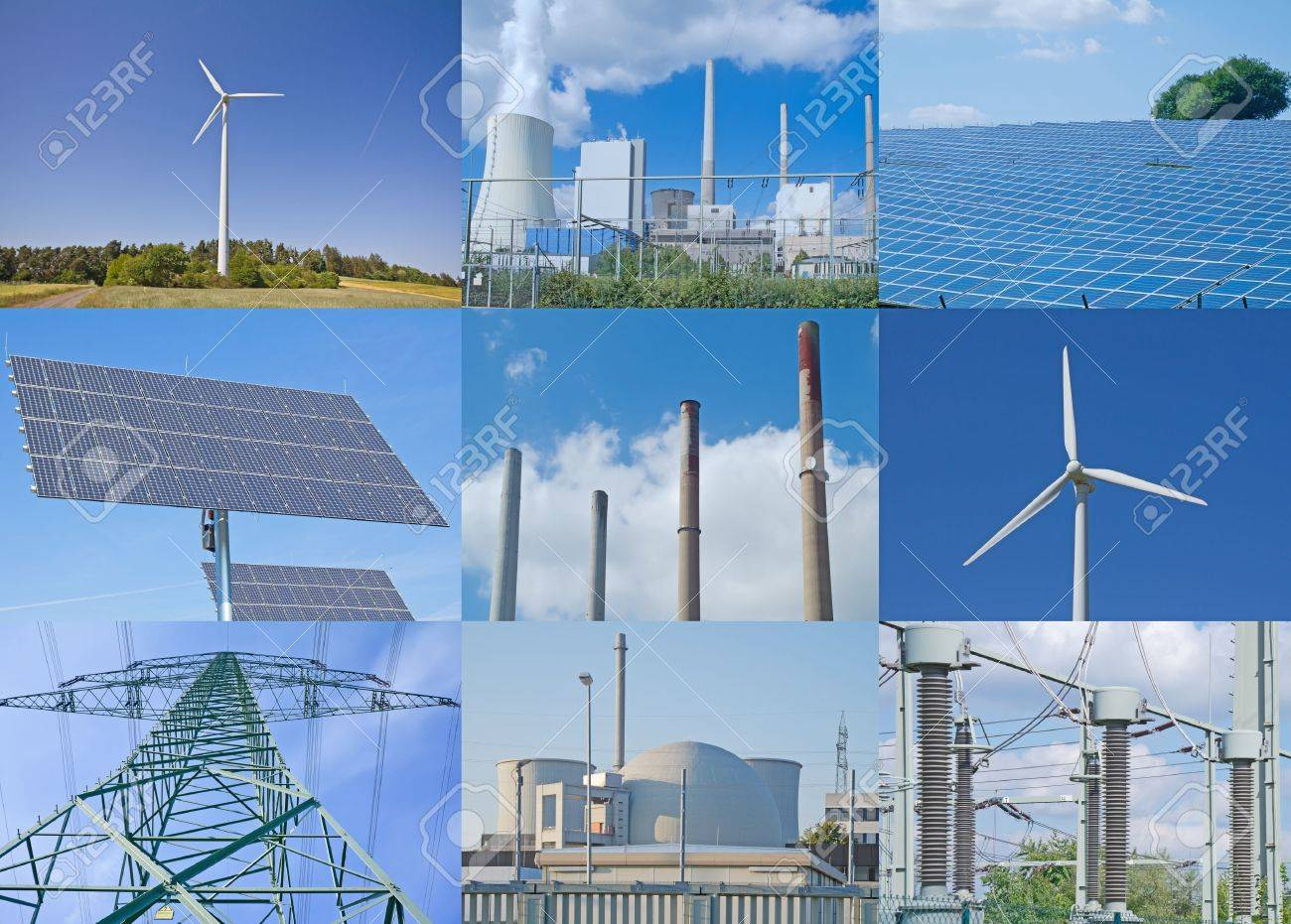 Working fossil-fuel power station in Grosskrotzenburg, Germany, and atomic power plant in Biblis, Germany, combined with green electricity sources. Stock Photo - 14140324