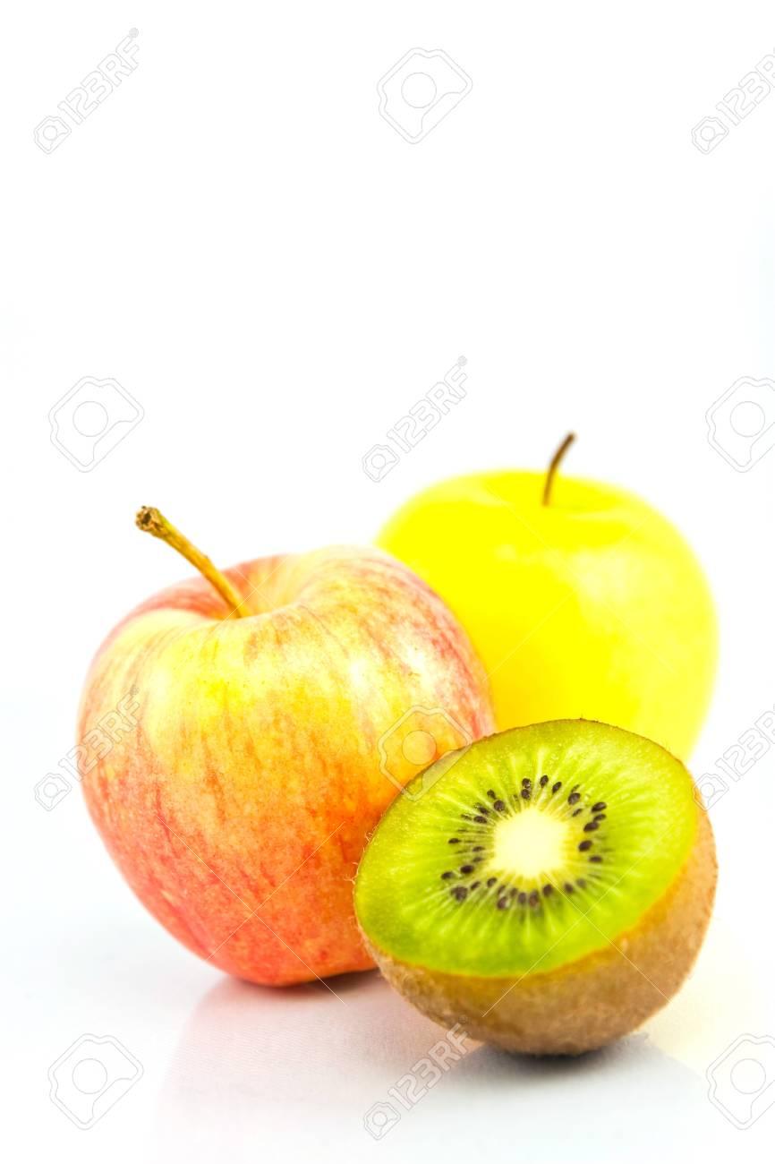 Apple and giwi fruits isolated on white Stock Photo - 9242364