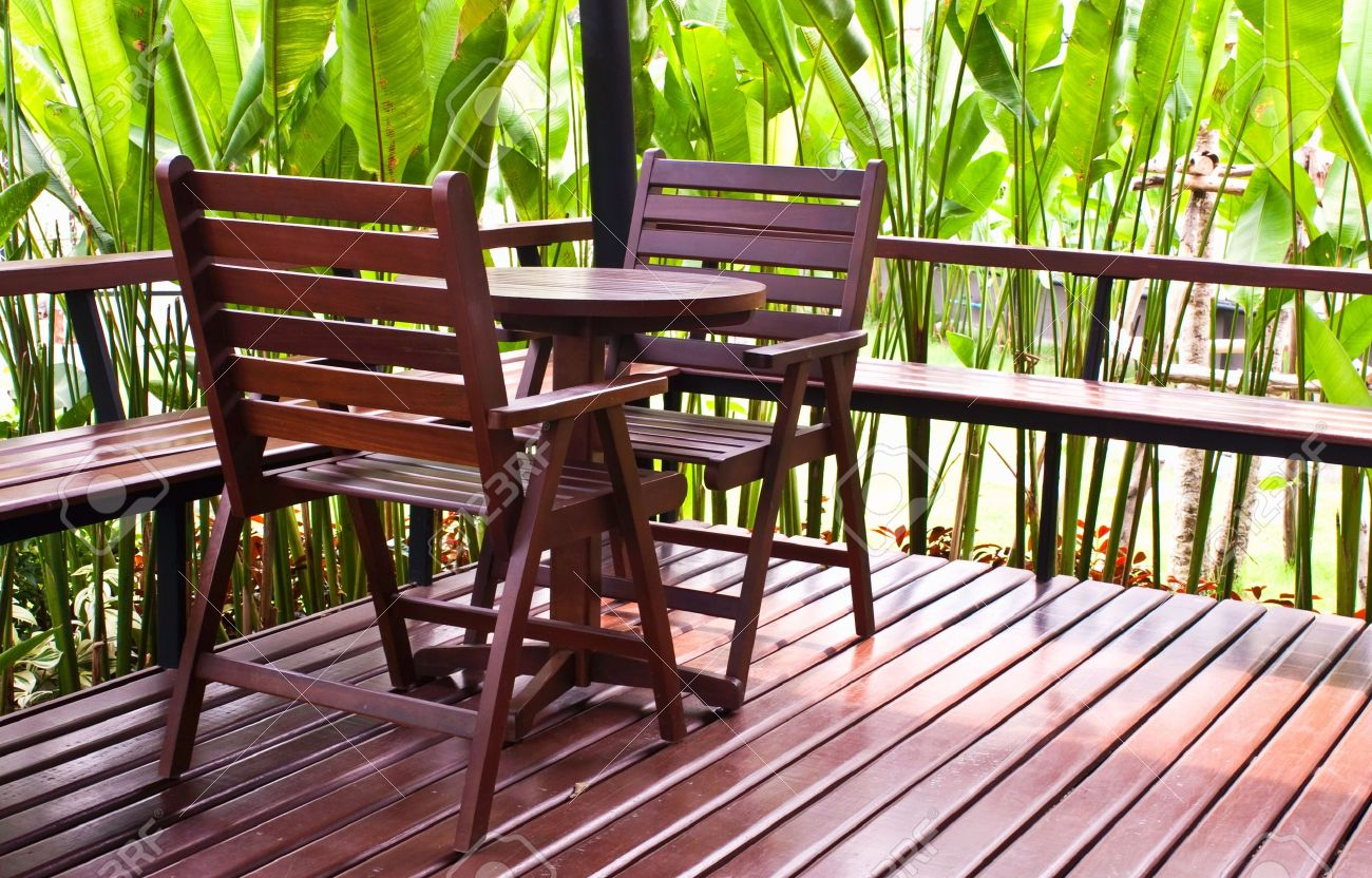 Wooden chairs and table in coffee shop Stock Photo - 9551806
