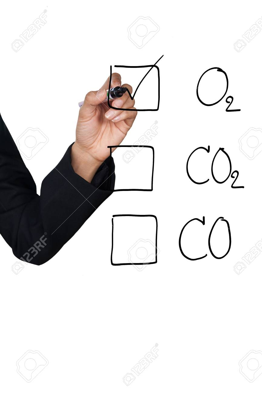 Hand selecting O2 icon, can be used for green concept Stock Photo - 10360987