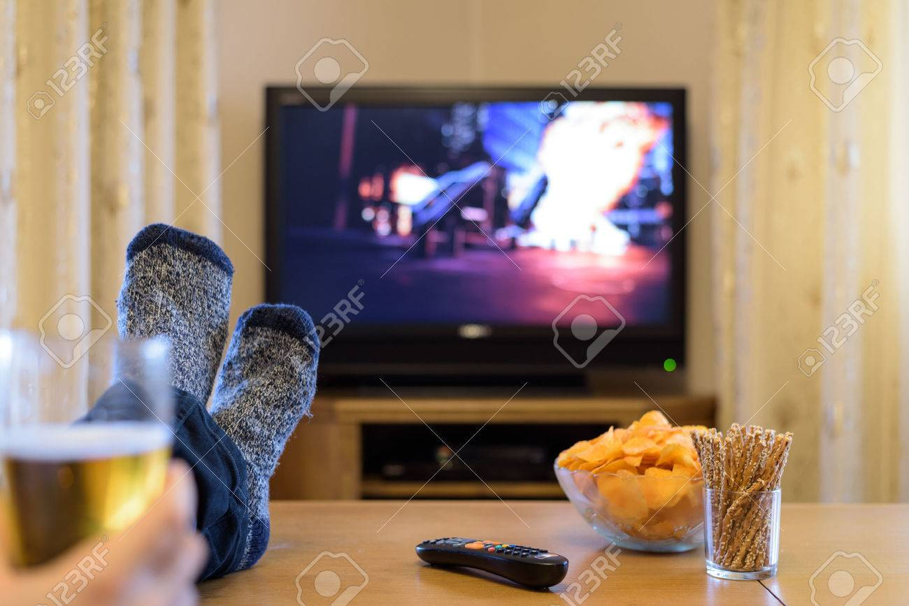 Tv Television Watching Boat With People With Feet On Table