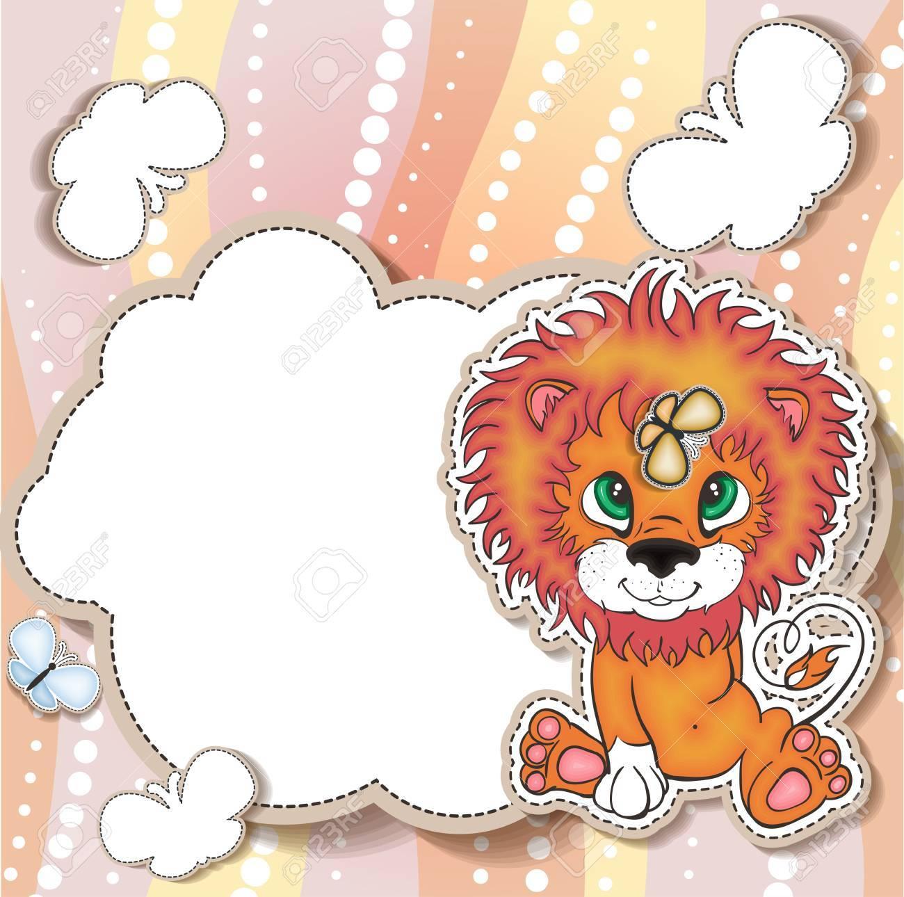 Cartoon style little lion design template Stock Vector - 16891129