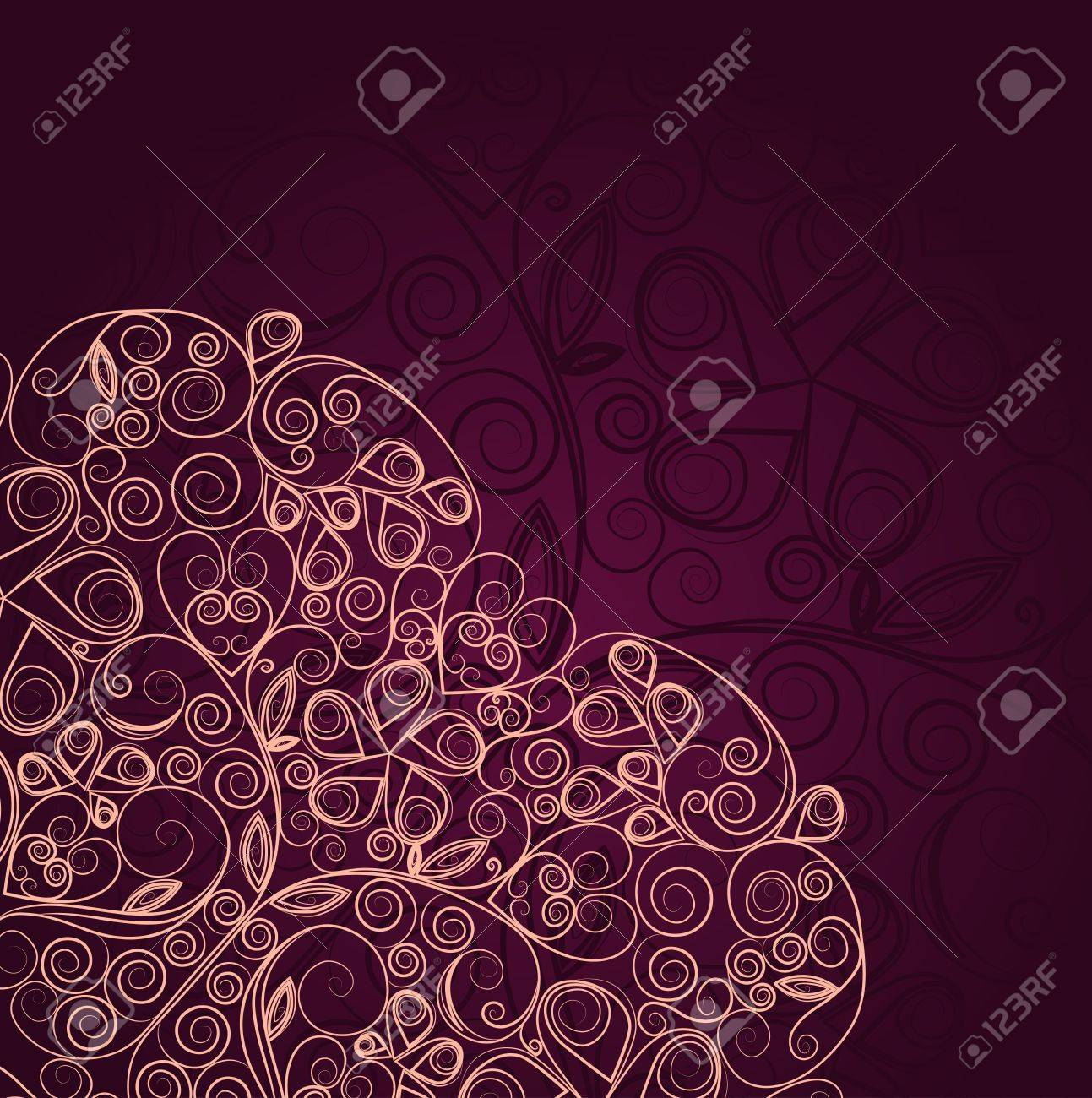 Vintage floral ornament heart design template Stock Vector - 16974737