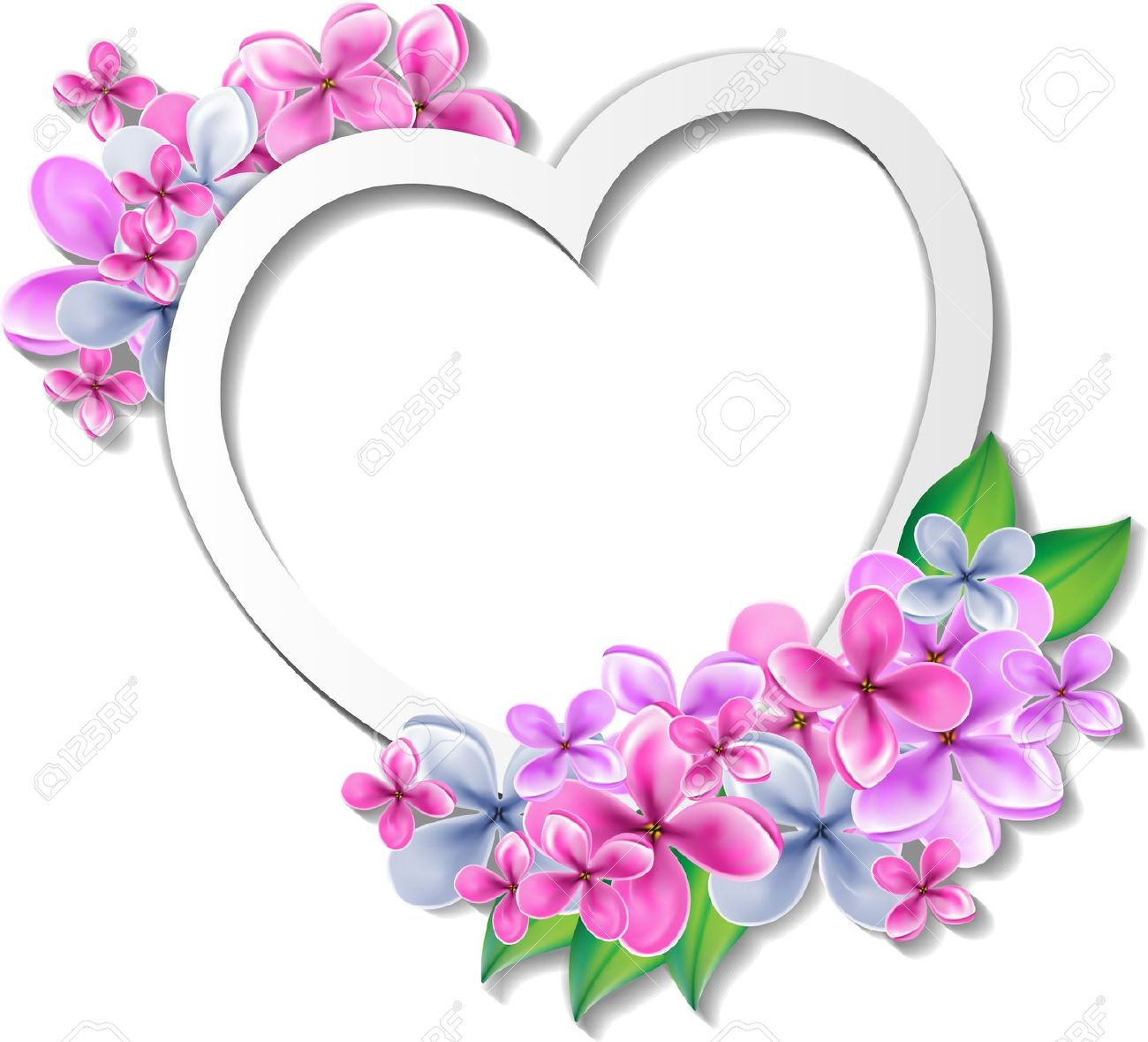 Heart With Flowers Design Template Stock Photo Picture And