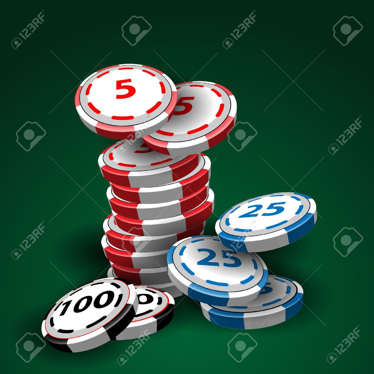 Poker table background - Poker Table Background Casino Chips Stacks On Green Background