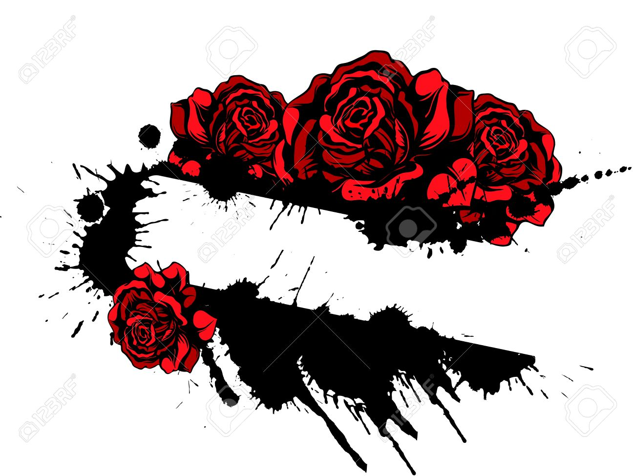 Red roses and splatter with space for text  template Stock Vector - 18707009