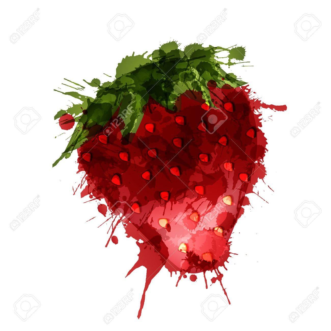 Strawberry made of colorful splashes on white background - 21020298