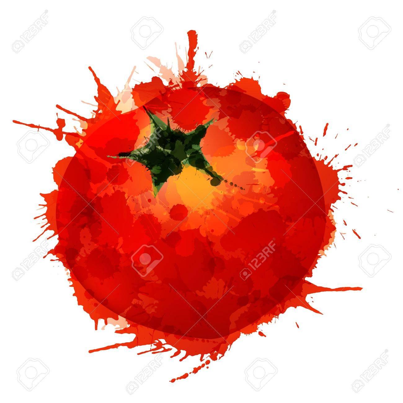 Tomato made of colorful splashes on white background - 21020279