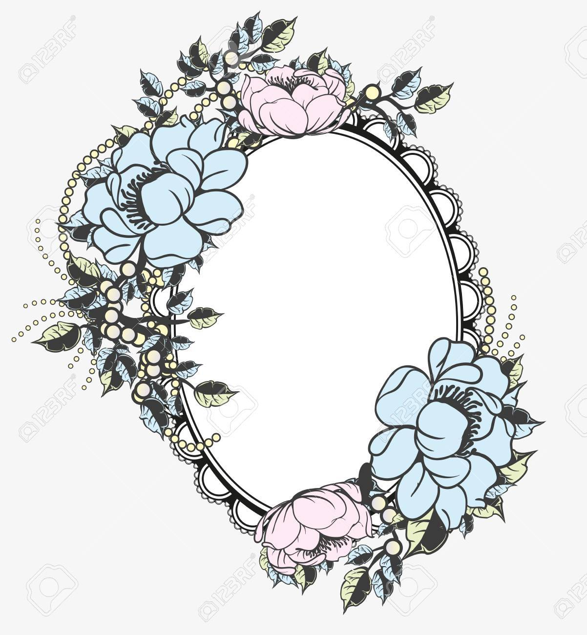 Oval Floral Frame Template Royalty Free Cliparts, Vectors, And Stock ...