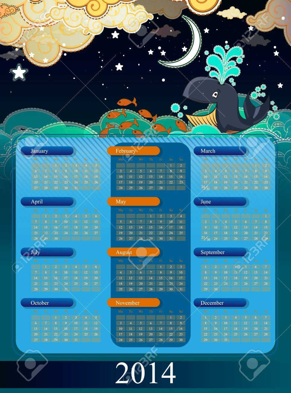 Calendar 2014 with cartoon clouds and whale Stock Vector - 21020328