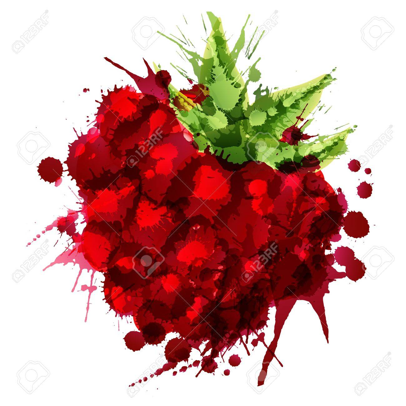 Raspberry made of colorful splashes on white background - 21149625