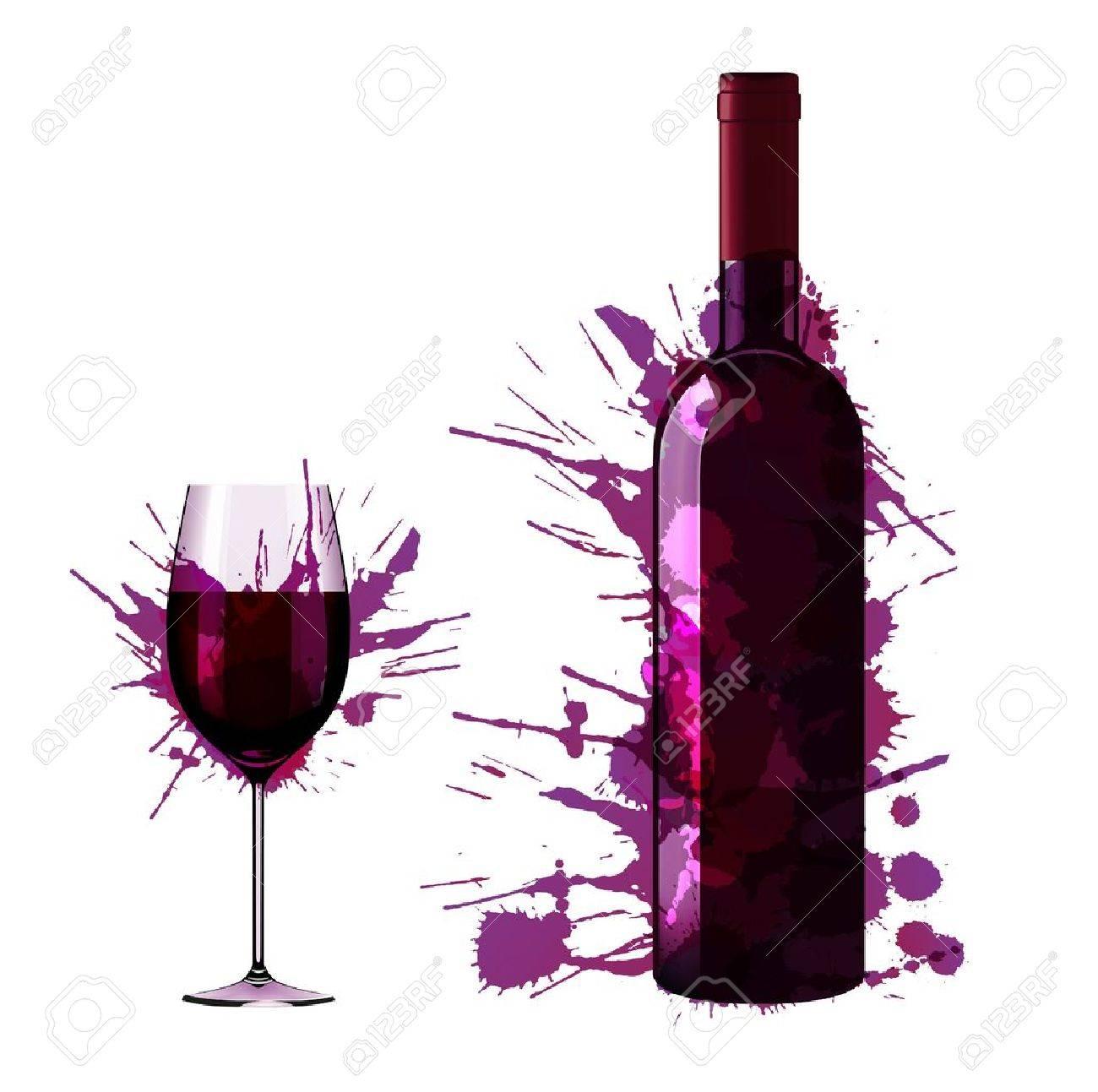 Bouteille et un verre de vin faite de taches colorées