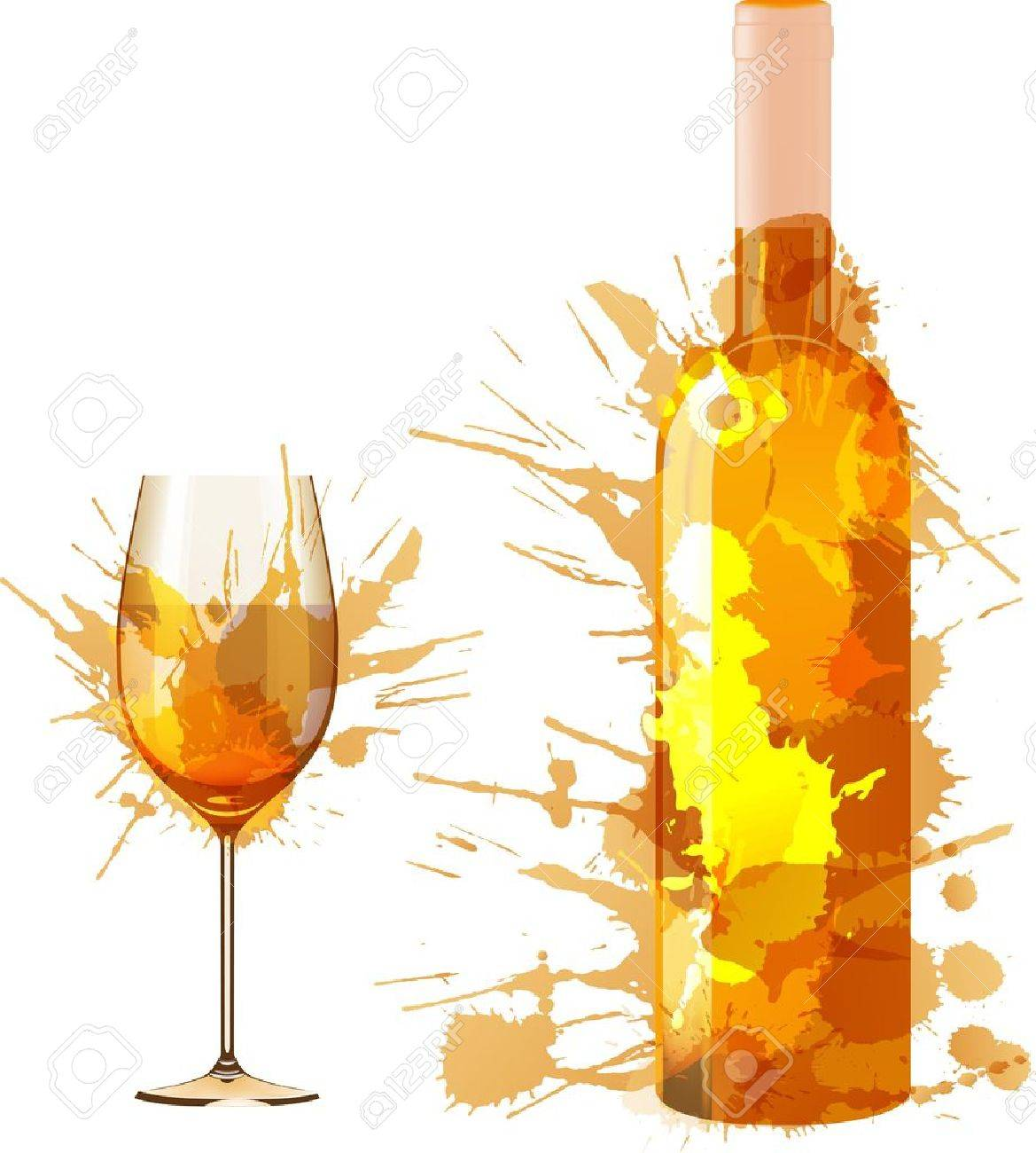 Bottle and glass of wine made of colorful splashes - 21563445