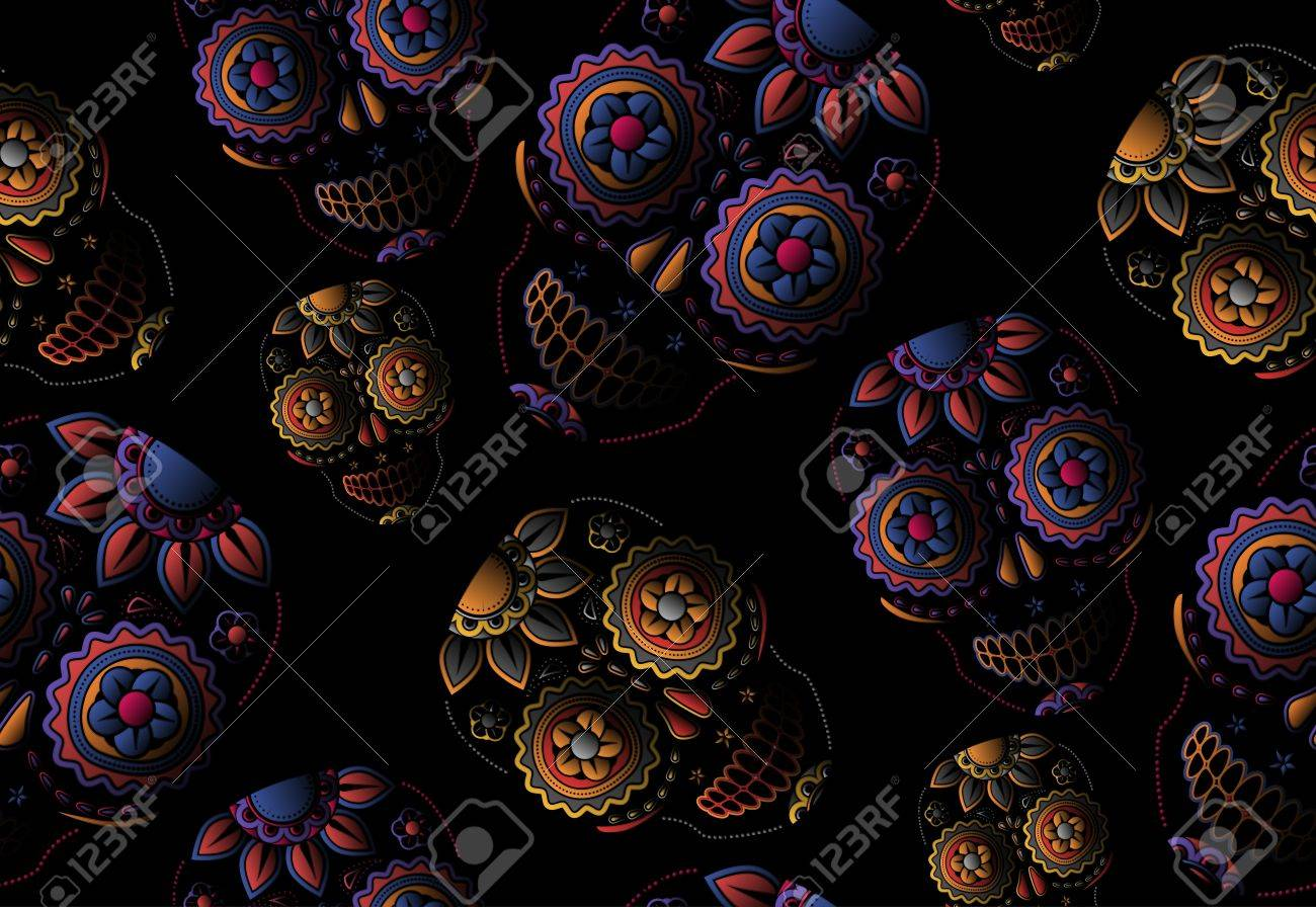 Sugar skull seamless pattern - 21563497