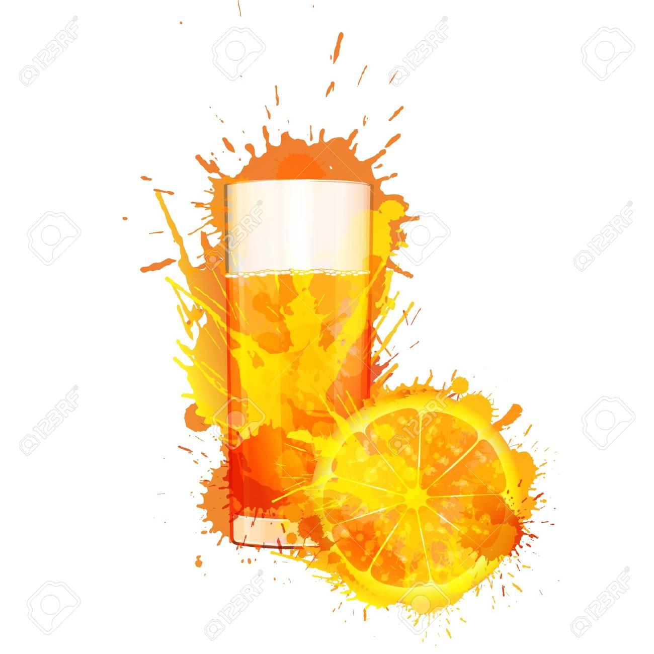 Orange slice and glass of orange juice made of colorful splashes on white background Stock Vector - 21563501