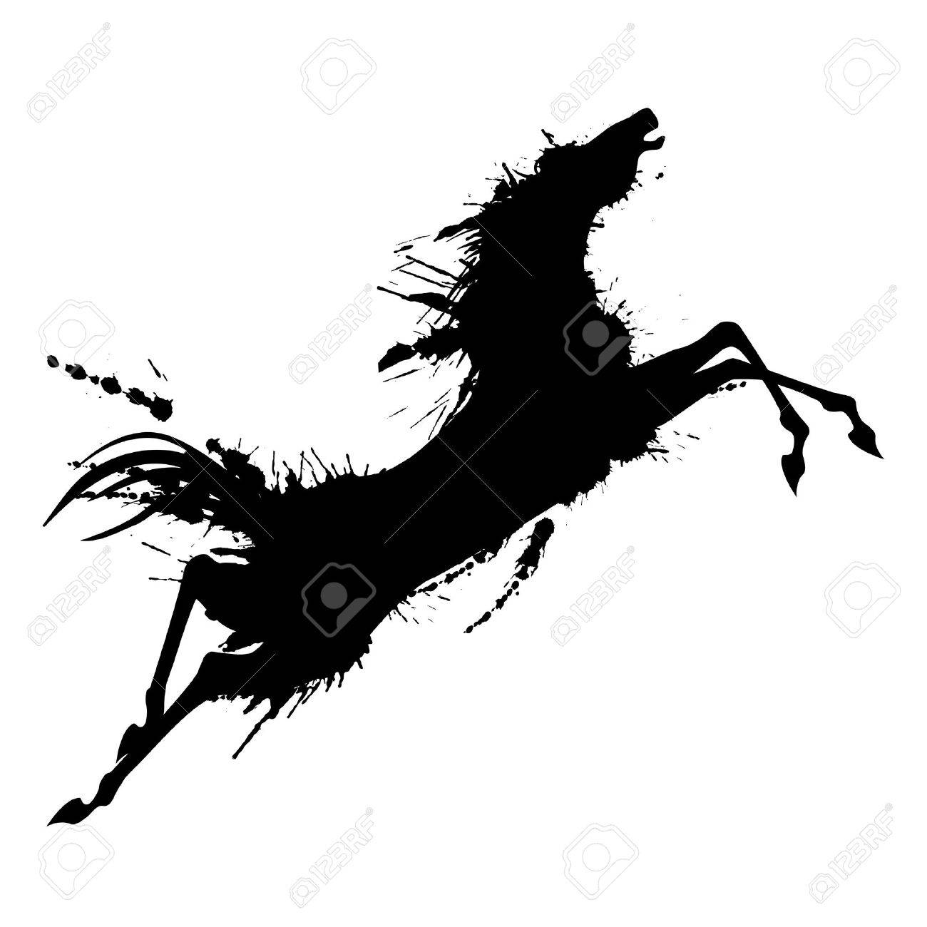 Grunge jumping horse silhouette - 21873502