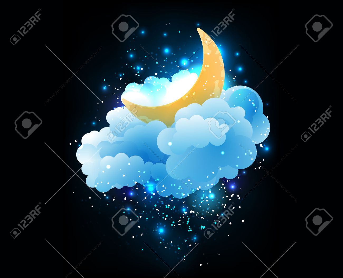 moon, clouds and stars. sweet dreams wallpaper. royalty free