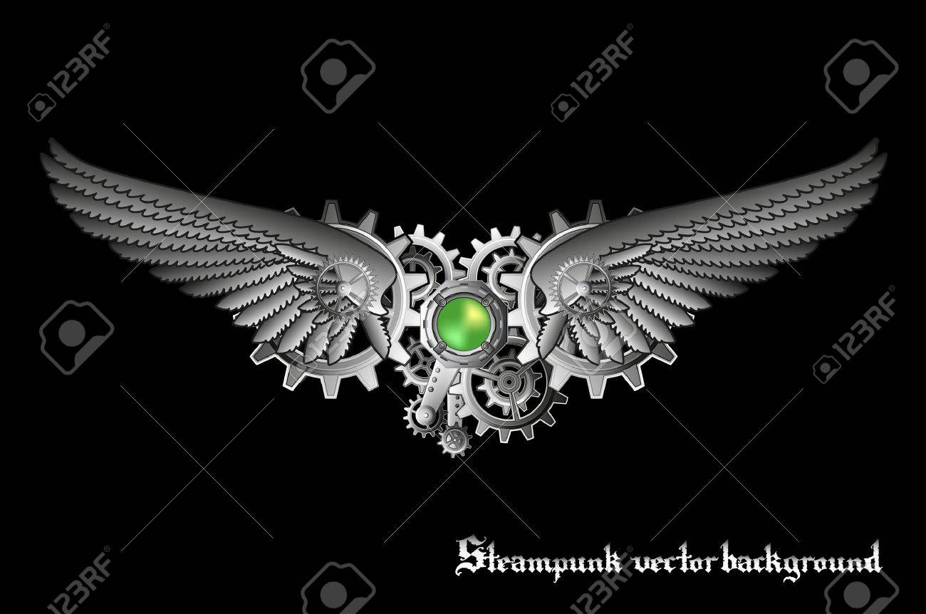 Steampunk vings vector background - 23257746