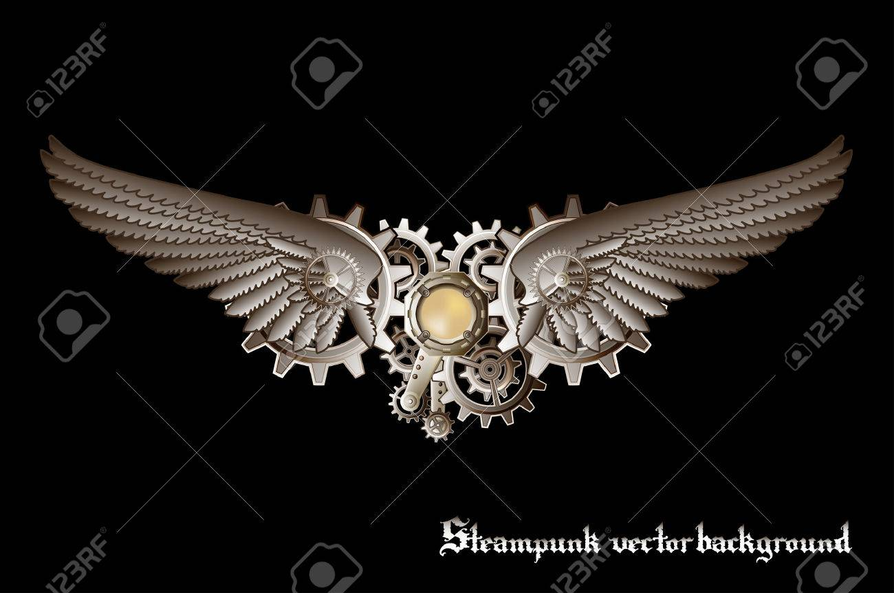 Steampunk vings vector background - 23257749