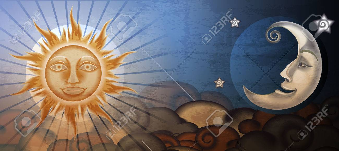 Grunge sun and moon in front of clouds. Fresco imitation. - 23821963