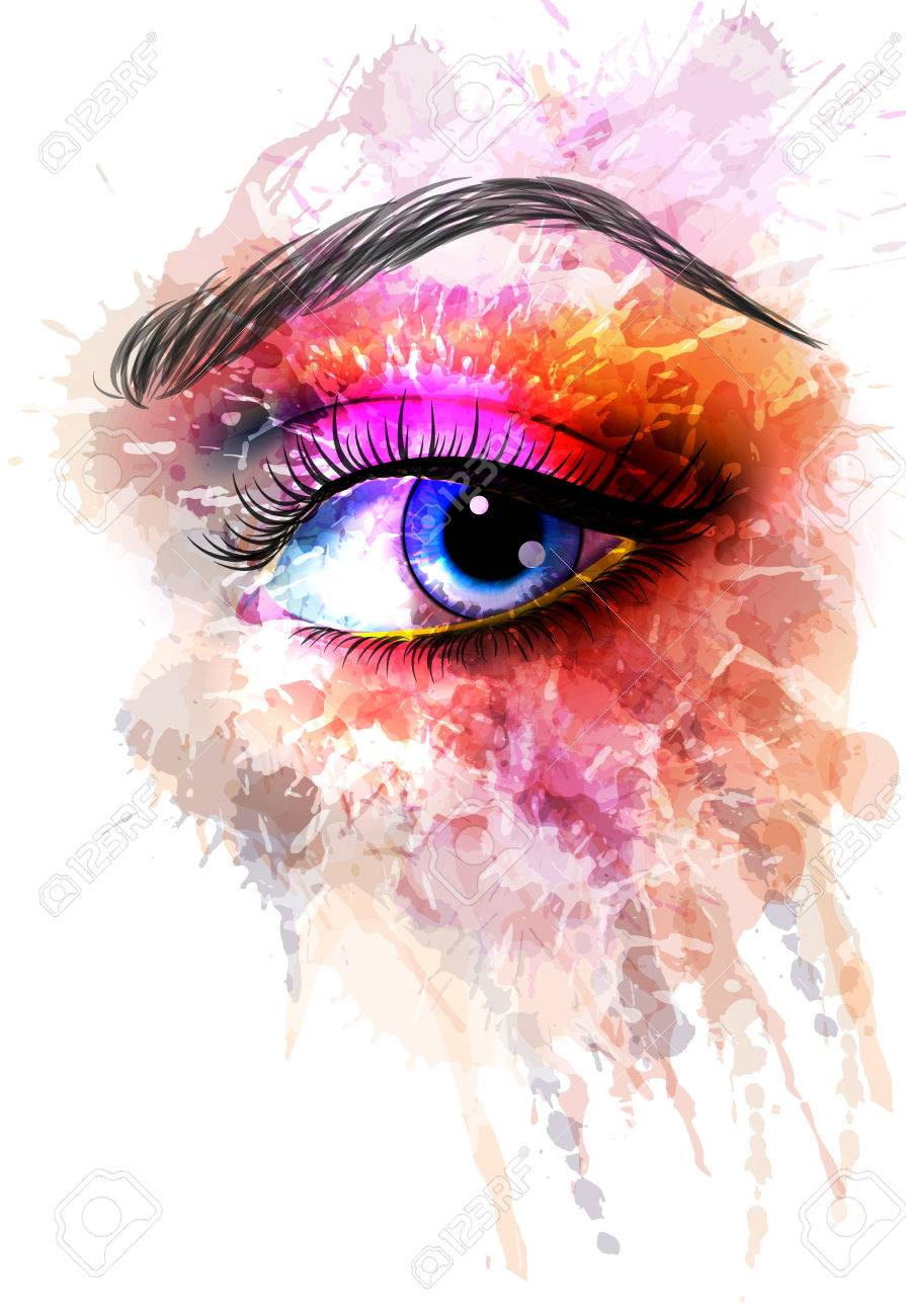 Eye made of colorful splashes - 23823467