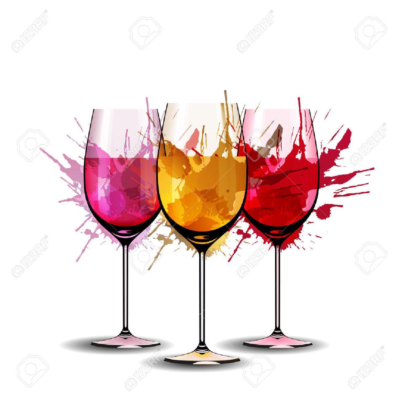 Three wine glasses with splashes - 24530874
