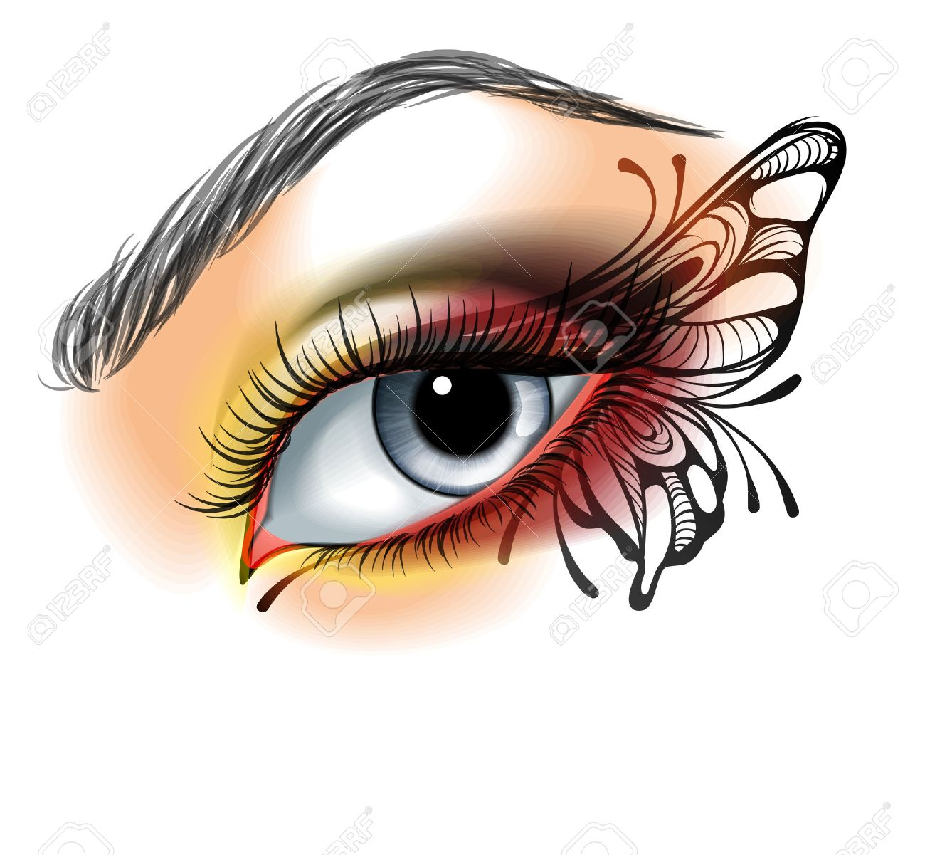 Eye make up with butterfly - 25839251