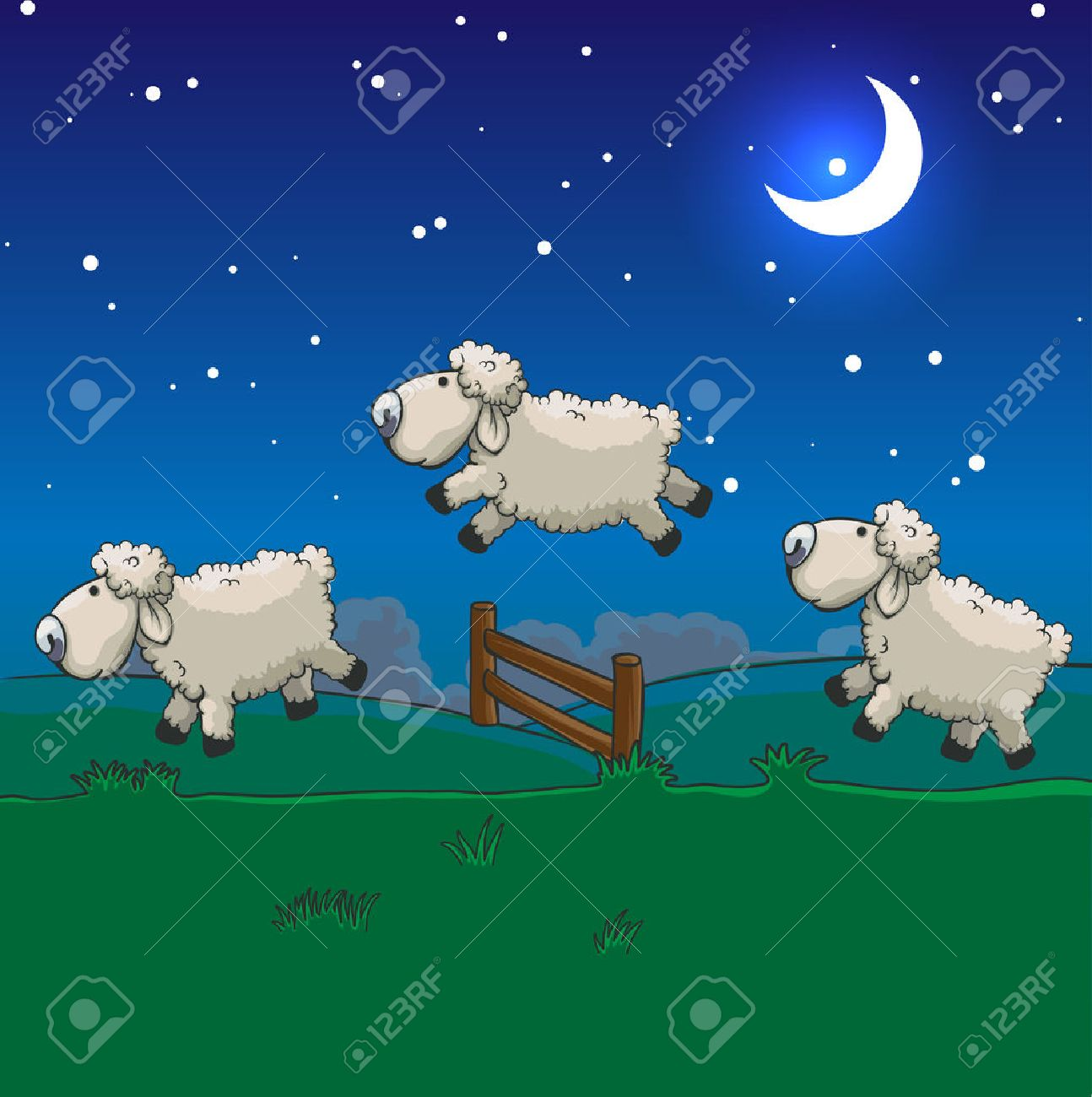 Three sheep jumping over the fence. Count them to sleep. - 25929653