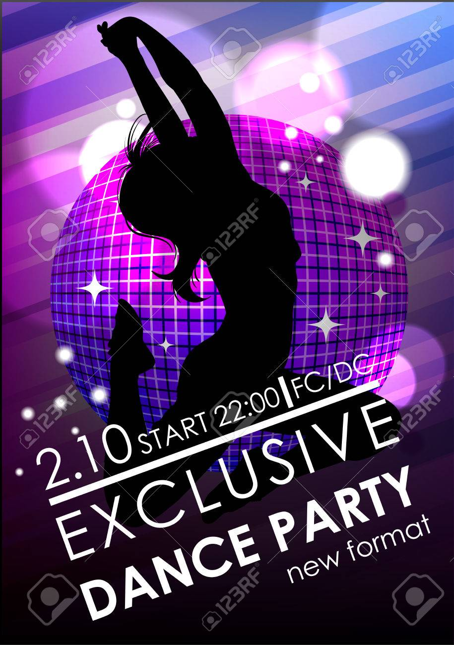 Dance Party Poster Or Flyer Template Royalty Free Cliparts ...