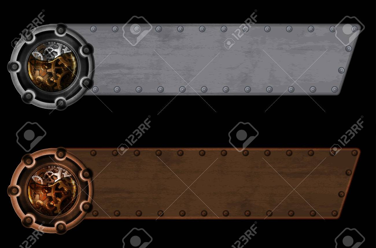 steampunk banner template royalty free cliparts vectors and stock